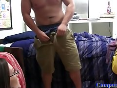 Busty amateur cockriding in the dorm