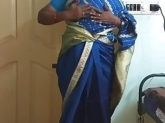 des indian horny cheating tamil telugu kannada malayalam hindi wife vanitha enervating blue colour saree  showing big boobs and shaved pussy press hard boobs press nip rubbing pussy masturbation