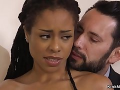 Hot ebony teen fucked in rope bondage