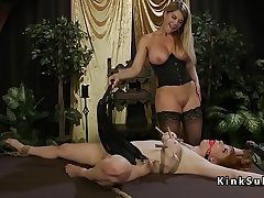Busty lesbian licks pussy and gets whip