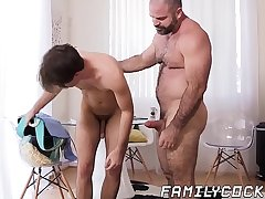Charming twink breeding with hunk stepdaddy until jizzshot