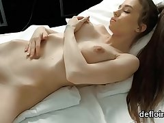 Lovable kitten gapes soft snatch and gets deflorated