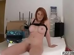 Busty Beautiful redhead Lilith Lust rides cock