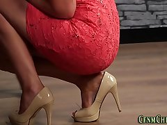 Glam clothed dominas jerk