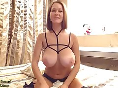 Hot Milf on touching significant natural boobs