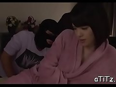 Wet japanese sweetheart with massive gut rides on a dildo