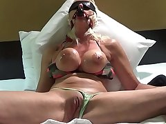 BLONDE BANDITT GAGGED AND ALONE EXPLODES WITH Chum around with annoy POWERFUL HITACHI VIBRATOR.HER WET PUSSY CUMS SO HARD HER PANTIES Realize SOAKING WET.SHE  TOUCHES HER PUSSY AND DRINKS HER CUM.see more intense orgasms @manyvids.com search blonde banditt