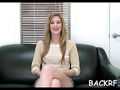 Obedient girl bonks with her crazy interviewer at a casting