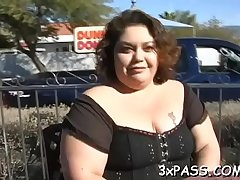 Big tittied chubby woman is performing actually great fellatio