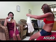Nice thai girl squeezes their way dude'_s 10-pounder and takes it in mouth