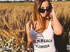 Outdoor Sloppy Blowjob on Sunset in Wheat Field He Cums on say no to Tits - RosieSkywalker