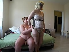 A girlfriend with a strapon fucks a oratorical lesbian, stirring up a juicy ass and stirring up natural tits with big nipples.