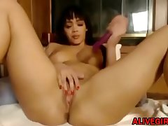 Awesome mixed ebony Brooke fucks her sweet pussy and gets cum