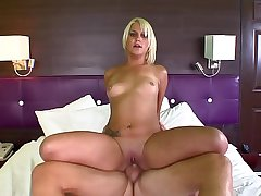 Beautiful busty blonde gets her lover riding