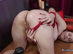 Anal fingered together with toyed brunette slave