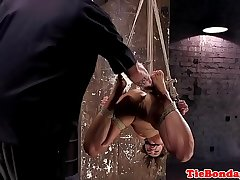 Caned sub finger fucked dimension tiedup