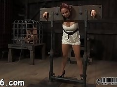 Wicked fastened up slave receives pounderous caning
