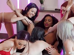 Young lezzies enjoy hot pussy-licking in left alone orgy