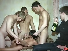 Happy cuckold watches his GF taking several dicks