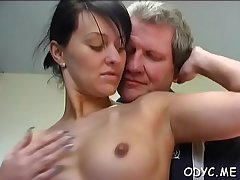 Busty youngster gets the brush bawdy cleft annihilated by an old boy