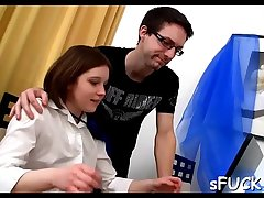 Sexy in force age teenager got fucked during her studying time, just like that