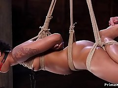 Hogtie suspension for skinny ebony slave