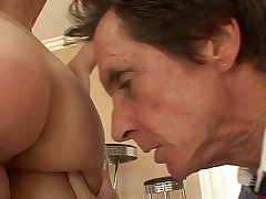 Big step old man detect fills up  young girl Gracie Glam'_s pussy doggy style on embed