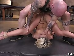 Blonde mouth and pussy banged wits brutal master