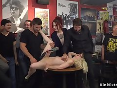 Euro blonde made gangbang fuck in public