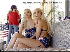 Family party on July 4th Bffs sisters fuck stepbro