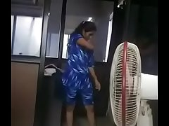 Indian Tamil girl adithi changed her dress in office infromt of her boss captured by her boss after all employees leave the office